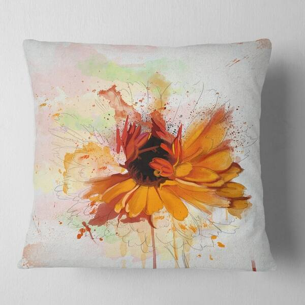Shop For Designart Sunflower Drawing With Paint Splashes Floral Throw Pillow Get Free Shipping On Everything At Overstock Your Online Home Decor Outlet Store Get 5 In Rewards With Club O 20951412