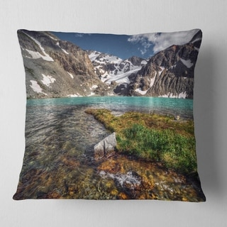 Designart 'Crystal Clear Creek in Mountains' Landscape Printed Throw Pillow (Square - 16 in. x 16 in. - Small) -  DESIGN ART