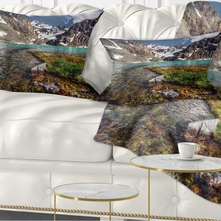 Designart 'Crystal Clear Creek in Mountains' Landscape Printed Throw Pillow (Rectangle - 12 in. x 20 in. - Medium) -  DESIGN ART
