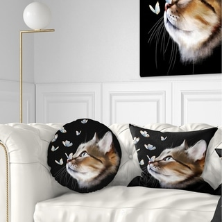 Designart 'Cat with Butterflies on Black' Animal Throw Pillow