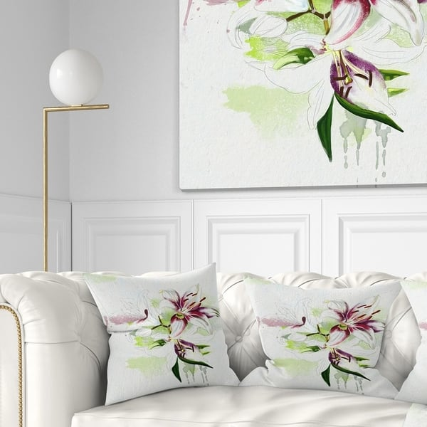 Designart Colorful Flowers With Color Splashes Floral Throw Pillow On Sale Overstock 20951468