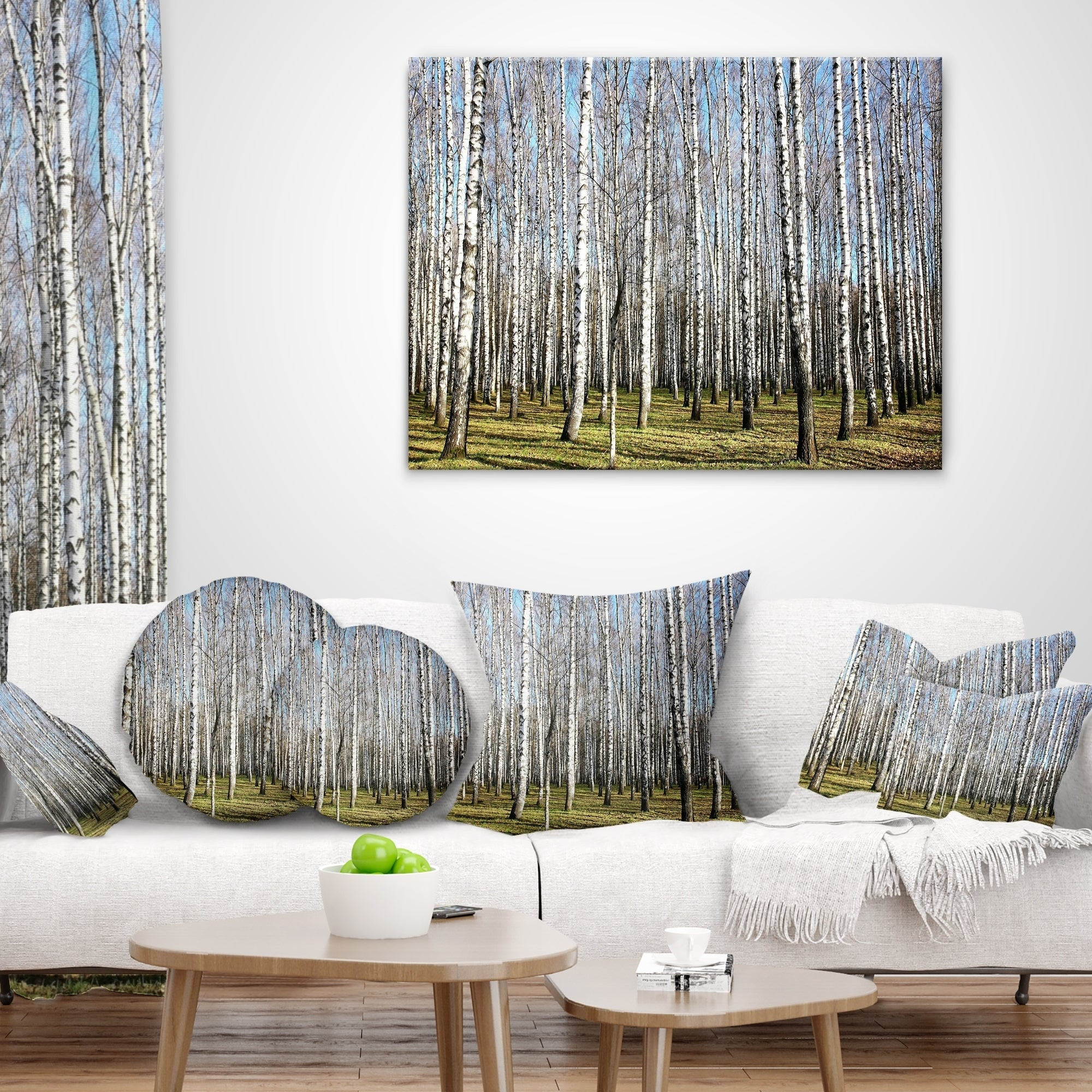 Insert Printed On Both Side Designart CU13993-20-20-C Sunny November Day in Birch Grow Modern Forest Round Cushion Cover for Living Room Sofa Throw Pillow 20