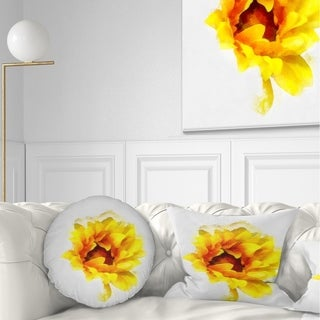 Designart 'Yellow Watercolor Sunflower' Floral Throw Pillow