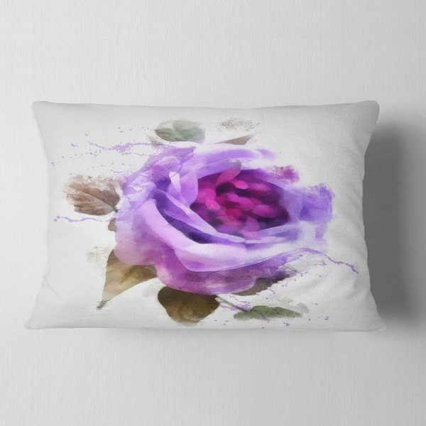 Designart Watercolor Purple Rose With Leaves Floral Throw Pillow On Sale Overstock 20951529
