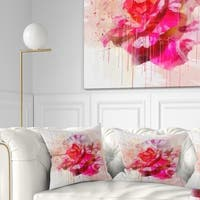Designart 'Red Rose with Watercolor Splashes' Floral Throw Pillow