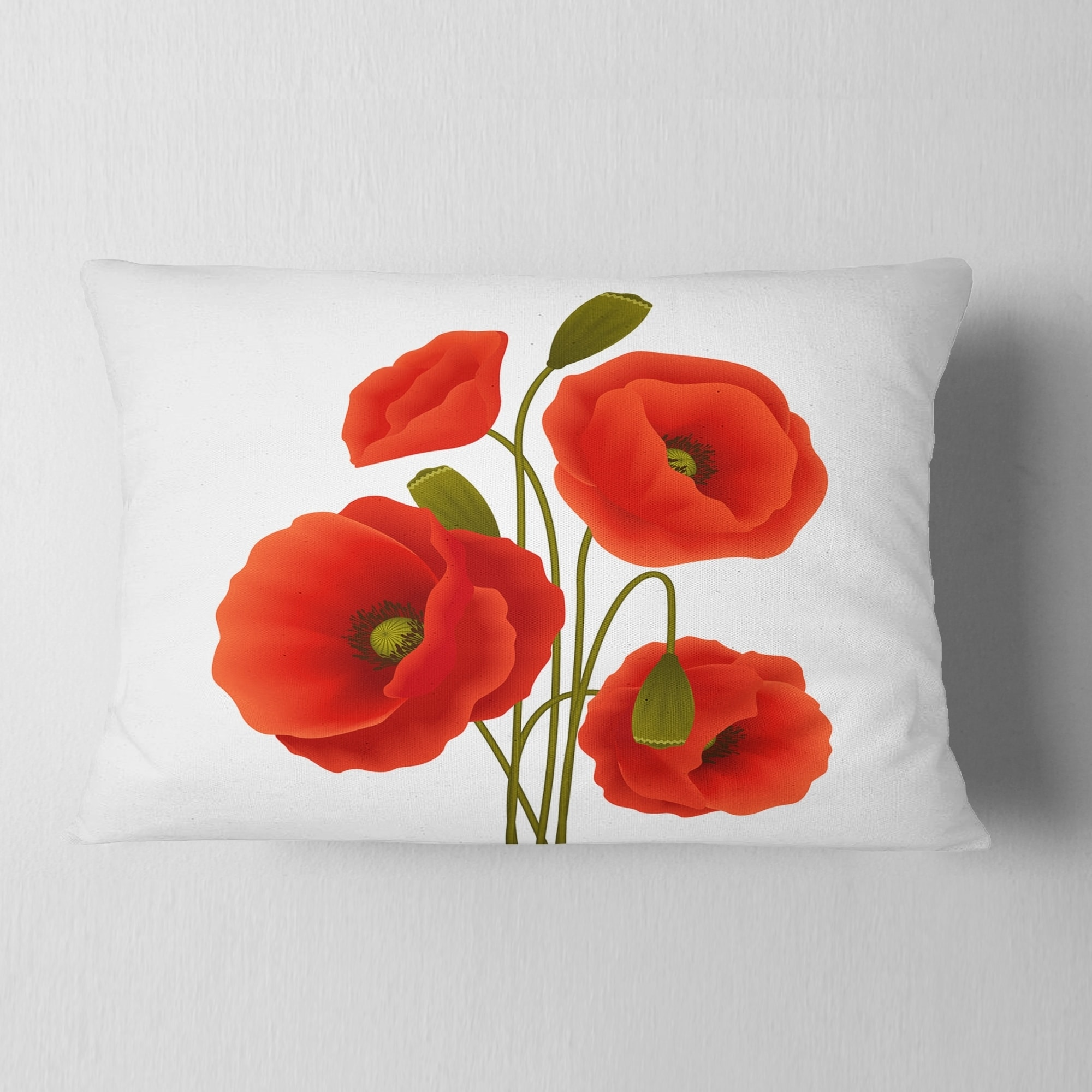 Shop For Designart Close Up View Of Poppy On White Floral Throw Pillow Get Free Shipping On Everything At Overstock Your Online Home Decor Outlet Store Get 5 In Rewards With Club O 20951588
