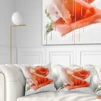 Designart 'Red Rose Painting with Splashes' Floral Throw Pillow
