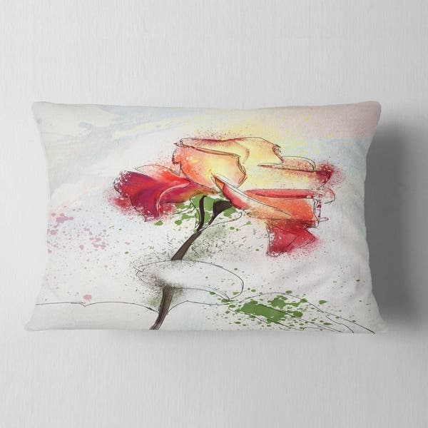 Designart Beautiful Rose Illustration Drawing Floral Throw Pillow On Sale Overstock 20951607