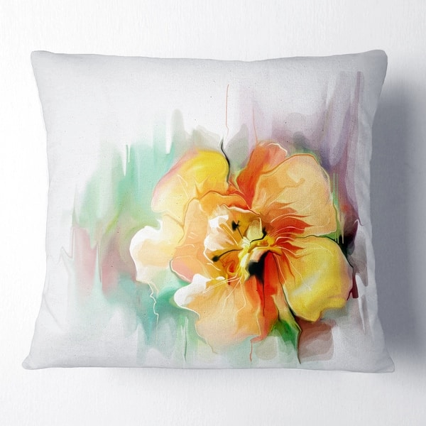 Designart Beautiful Yellow Flower Drawing Floral Throw Pillow On Sale Overstock 20951718
