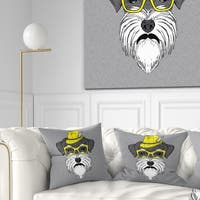 Designart 'Schnauzer with Hat and Glasses' Contemporary Animal Throw Pillow