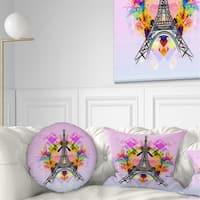 Designart 'Bright Paris Eiffel TowerCartoon' Abstract Throw Pillow