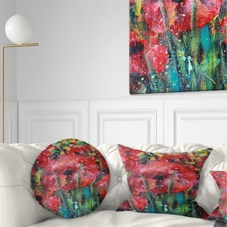 Designart 'Red Poppies Acrylic Drawing' Floral Throw Pillow