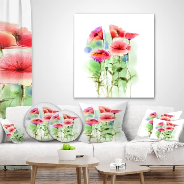 Designart Red Poppy Flowers Watercolor Sketch Floral Throw Pillow On Sale Overstock 20951771
