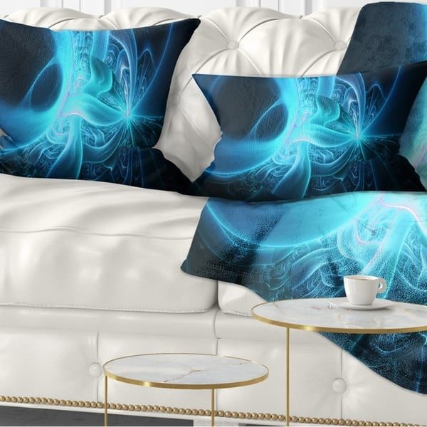 Designart Shining Bright Blue On Black Abstract Throw Pillow On Sale Overstock 20951802