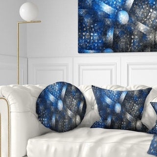 Designart 'Crystal Cell Dark Blue Steel Texture' Abstract Throw Pillow