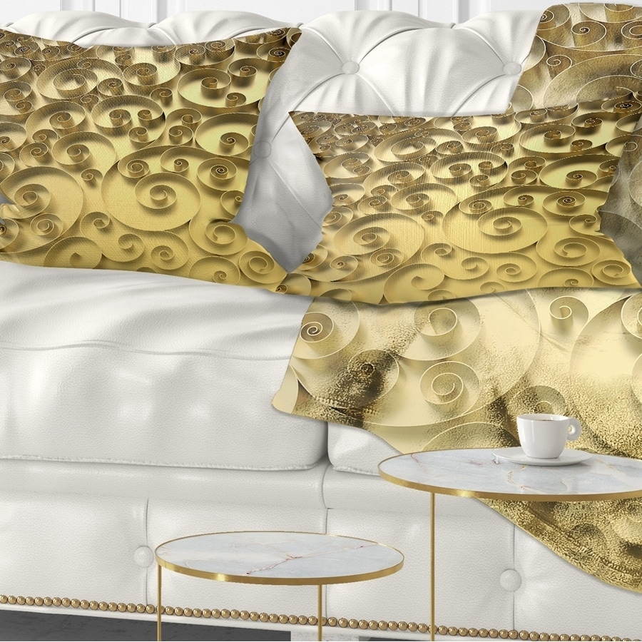 Designart 3d Golden Curly Background Abstract Throw Pillow On Sale Overstock 20951932