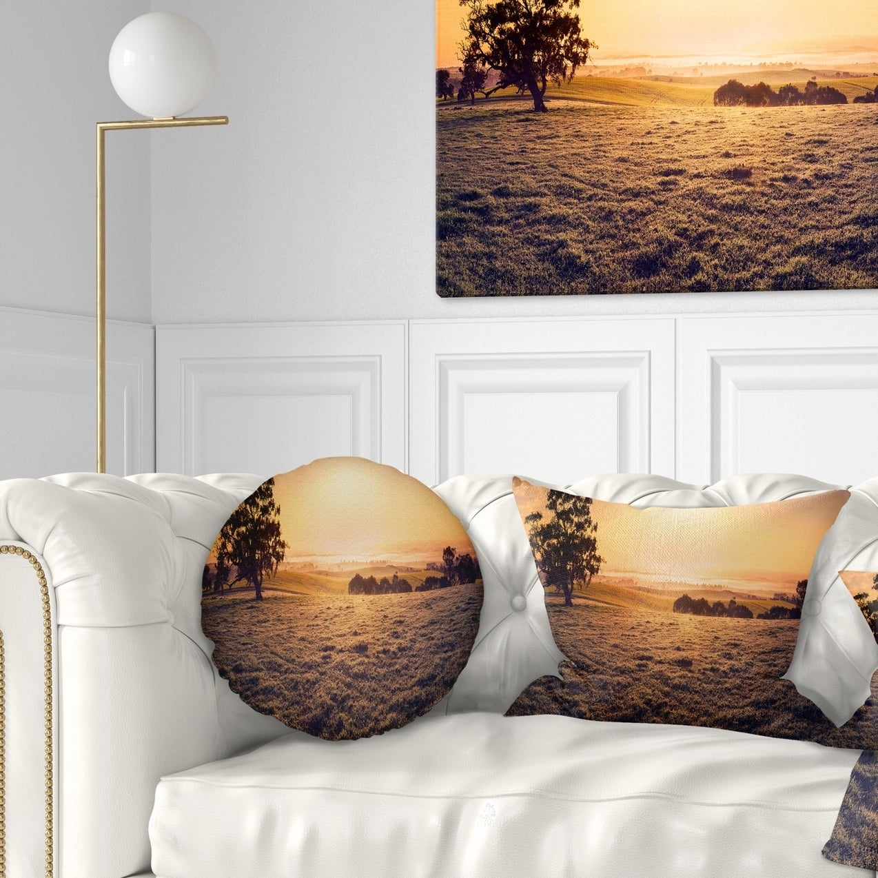 Designart Field Of Dreams Panorama Landscape Printed Throw Pillow On Sale Overstock 20951951