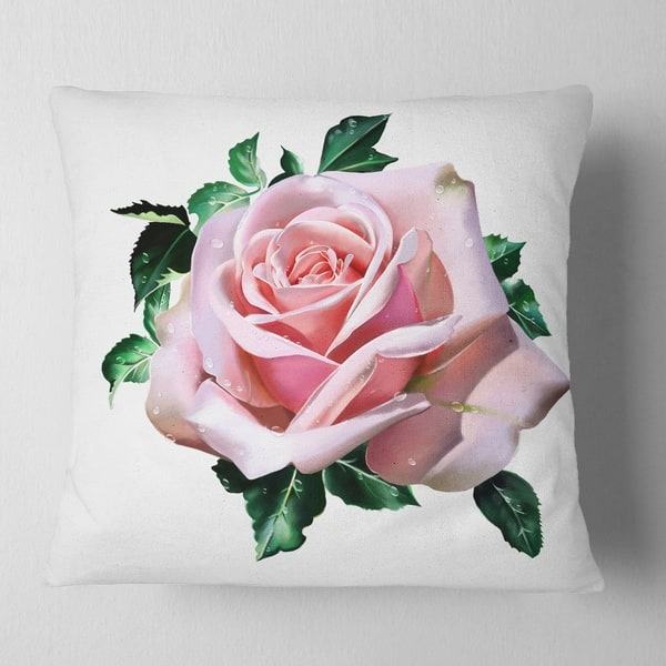 Designart Watercolor Rose With Green Leaves Floral Throw Pillow On Sale Overstock 20951987