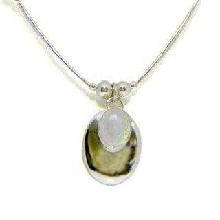 Handmade Glistening White Opal Pendant (Set of 2) (India)