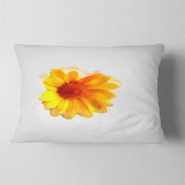 Designart Cu13718 12 20 Watercolor Yellow Coreopsis Sketch Floral Lumbar Cushion Cover For Living Room Sofa Throw Pillow 12 In Insert Printed On Both Side In X 20 In Home Kitchen Decorative Pillows