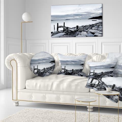 Designart 'Small Sea Bridge from Rocky Beach' Landscape Printed Throw Pillow