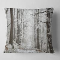 Designart Winter Rural Road On Misty Morning Forest Throw Pillow Overstock 20952061