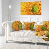 Designart 'Yellow Daisy Gerbera Flower Close up' Flowers Throw Pillowwork