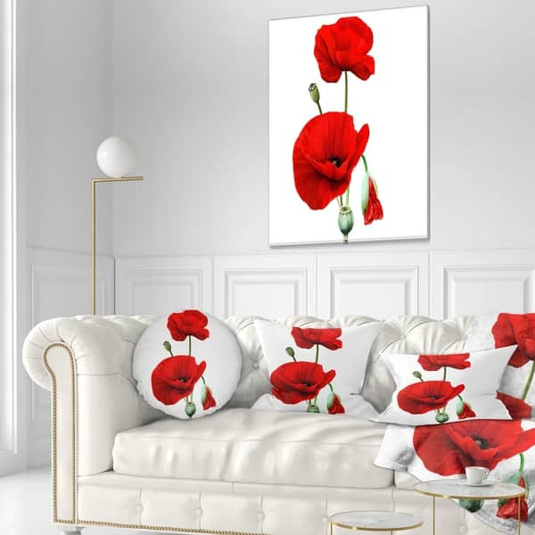 Pleasant Shop Designart Red Poppies On White Background Floral Gamerscity Chair Design For Home Gamerscityorg