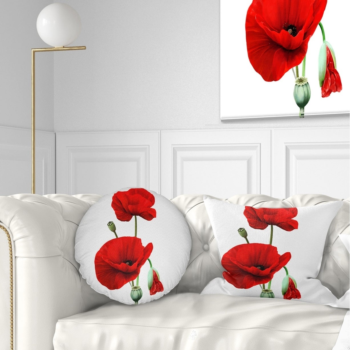 Shop Designart Red Poppies On White Background Floral Throw