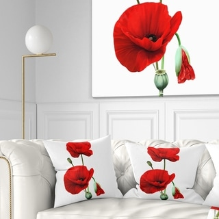 Designart 'Red Poppies on White Background' Floral Throw Pillow