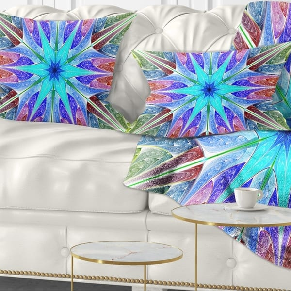 Designart Multi Color Pink Fractal Stained Glass Abstract Throw Pillow On Sale Overstock 20952149