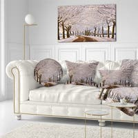 Designart 'Trees And Road in White Winter' Landscape Printed Throw Pillow