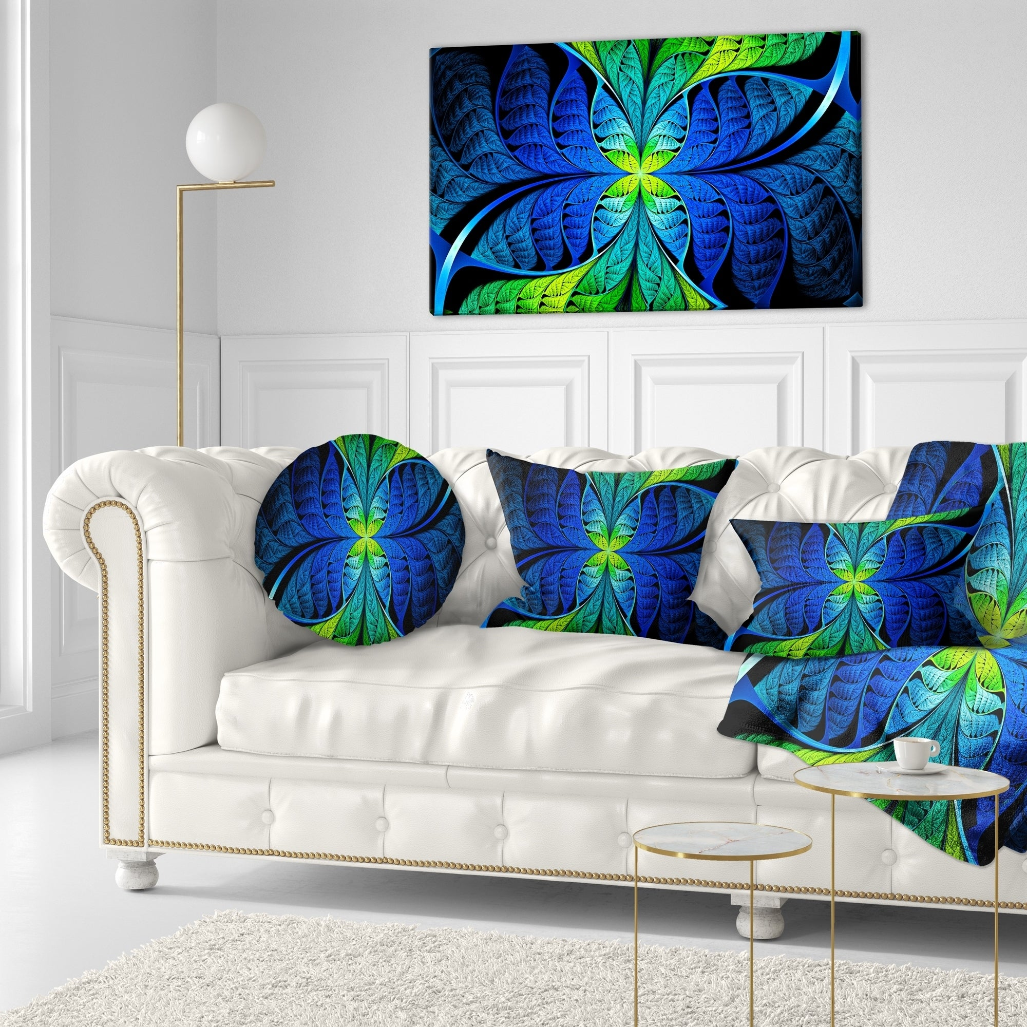 Designart Blue Green Fractal Stained Glass Abstract Throw Pillow Overstock 20952156