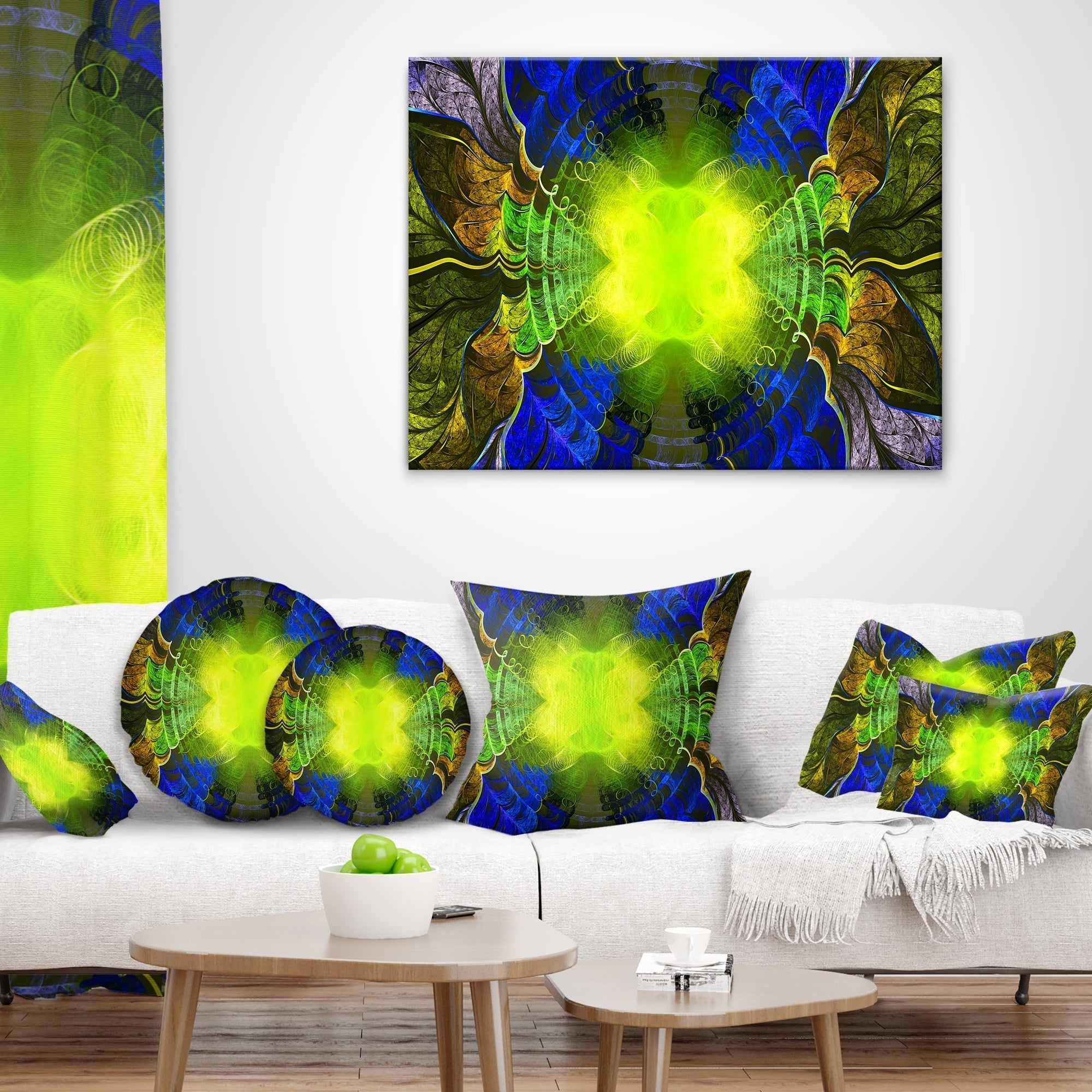 Designart Green Golden Fractal Stained Glass Abstract Throw Pillow On Sale Overstock 20952162
