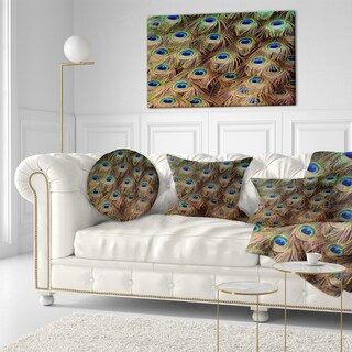 Designart 'Peacock Bird Tail Feathers in Close Up' Animal Throw Pillow