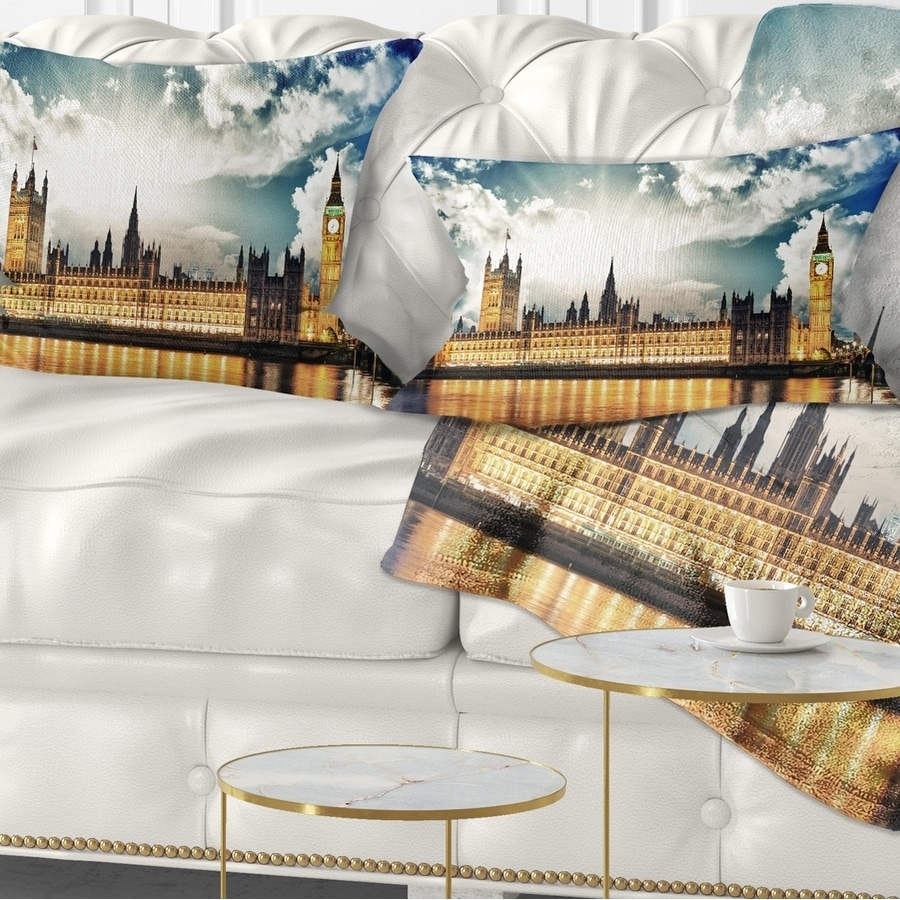 Designart CU14349-12-20 Big Ben UK and House of Parliament Lumbar Cushion Cover for Living Room 12 in Sofa Throw Pillow x 20 in