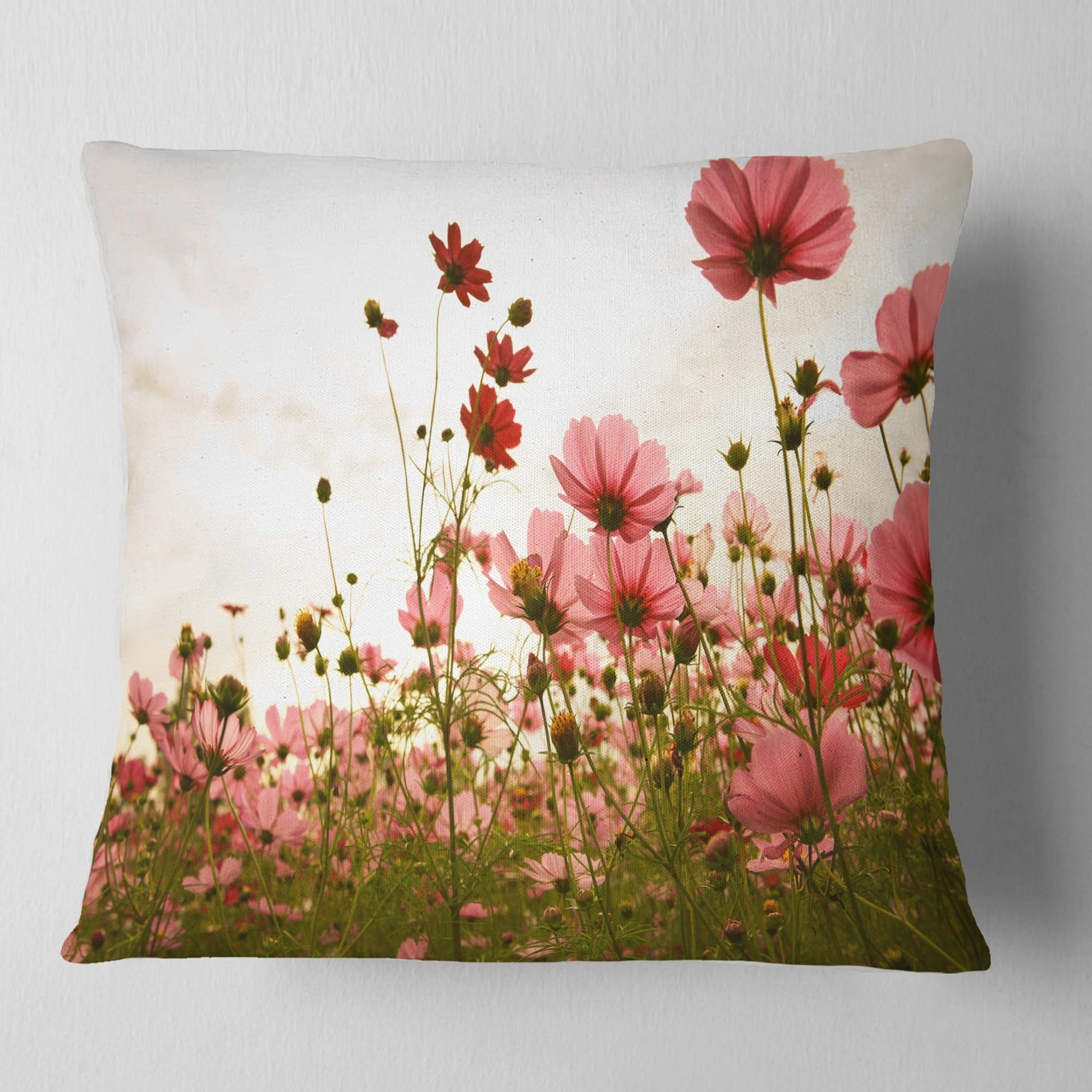 Designart Beautiful Cosmos Flowers Garden Floral Throw Pillow On Sale Overstock 20952279