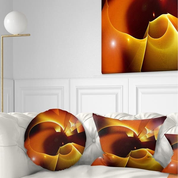 Designart Warm Yellow Red Fractal Design Abstract Throw Pillow On Sale Overstock 20952284