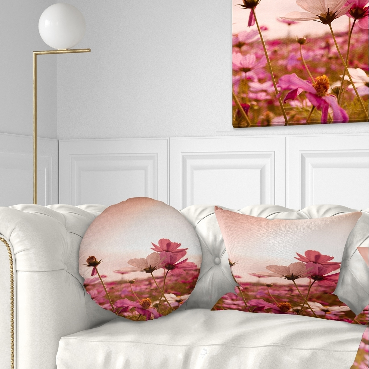Designart Meadow With Beautiful Cosmos Flowers Floral Throw Pillow On Sale Overstock 20952290