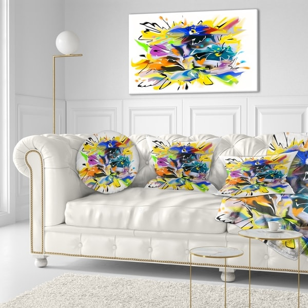 Designart 'Yellow Blue Abstract Floral Design' Floral Throw Pillow