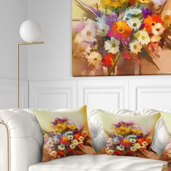 Amazing Designart Bouquet Of Flowers Floral Throw Pillow Inzonedesignstudio Interior Chair Design Inzonedesignstudiocom