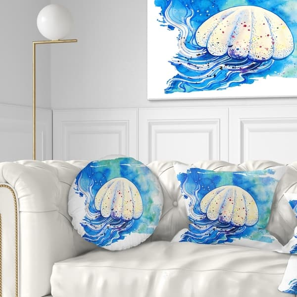 Designart Jellyfish Watercolor Painting Abstract Throw Pillow On Sale Overstock 20952350