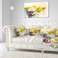 Designart 'Bunch of White Yellow Flowers' Floral Throw Pillow