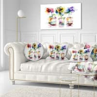 Designart 'Abstract Flowers in Glass Vases' Floral Throw Pillow