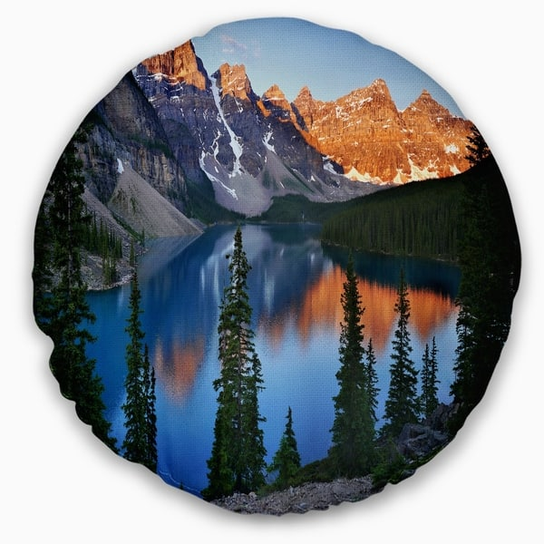 Designart Beautiful Moraine Lake Canada Landscape Printed Throw Pillow On Sale Overstock 20952523