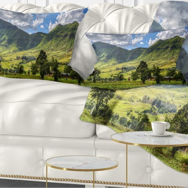 Designart Lesotho Mountains Panorama Landscape Printed Throw Pillow Overstock 20952528