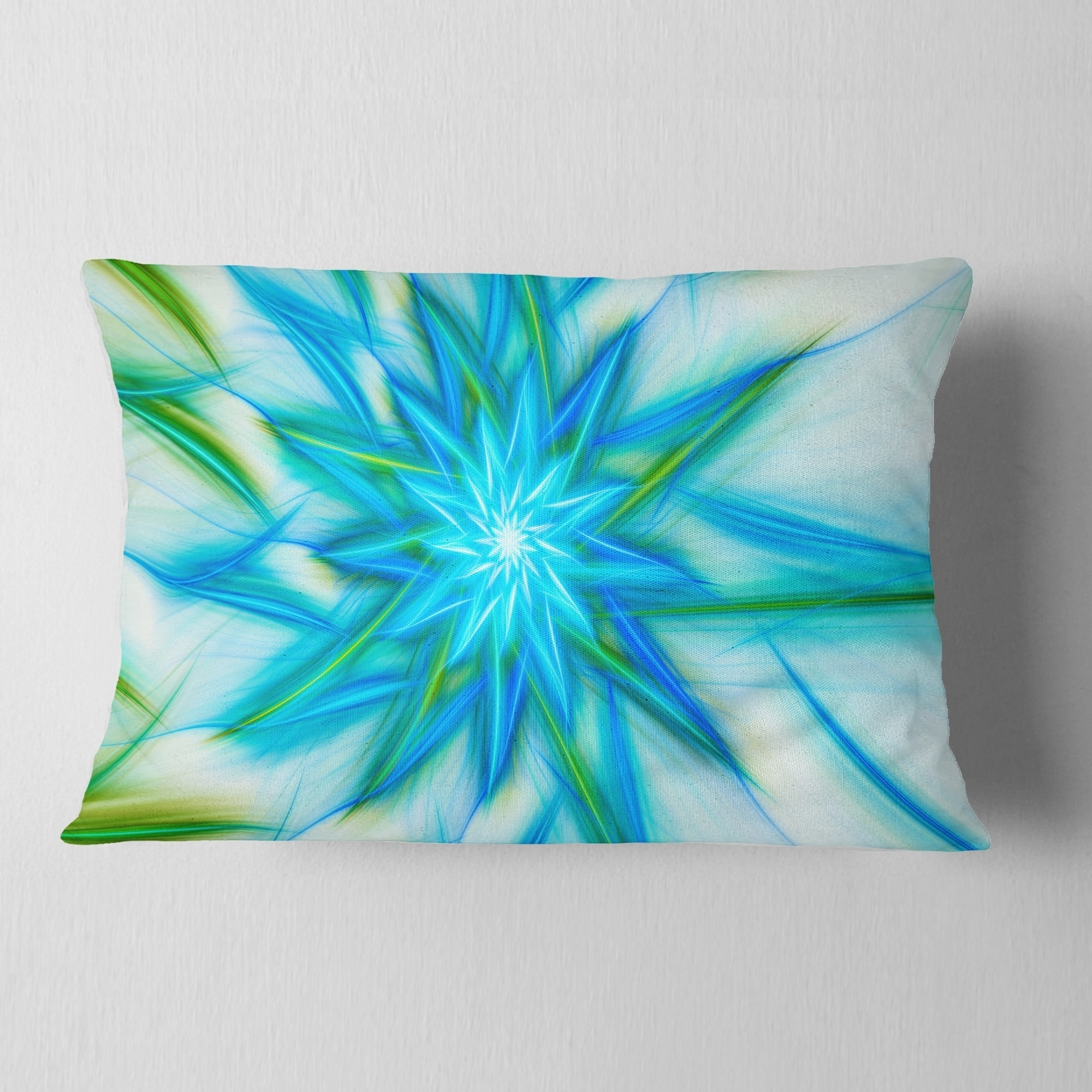 Designart Blue Fractal Shining Bright Star Abstract Throw Pillow On Sale Overstock 20952734
