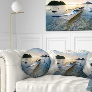 Designart 'Boat Docked at Beautiful Sunset' Seashore Throw Pillow