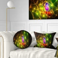 Designart 'Glowing Fractal Underwater World' Abstract Throw Pillow