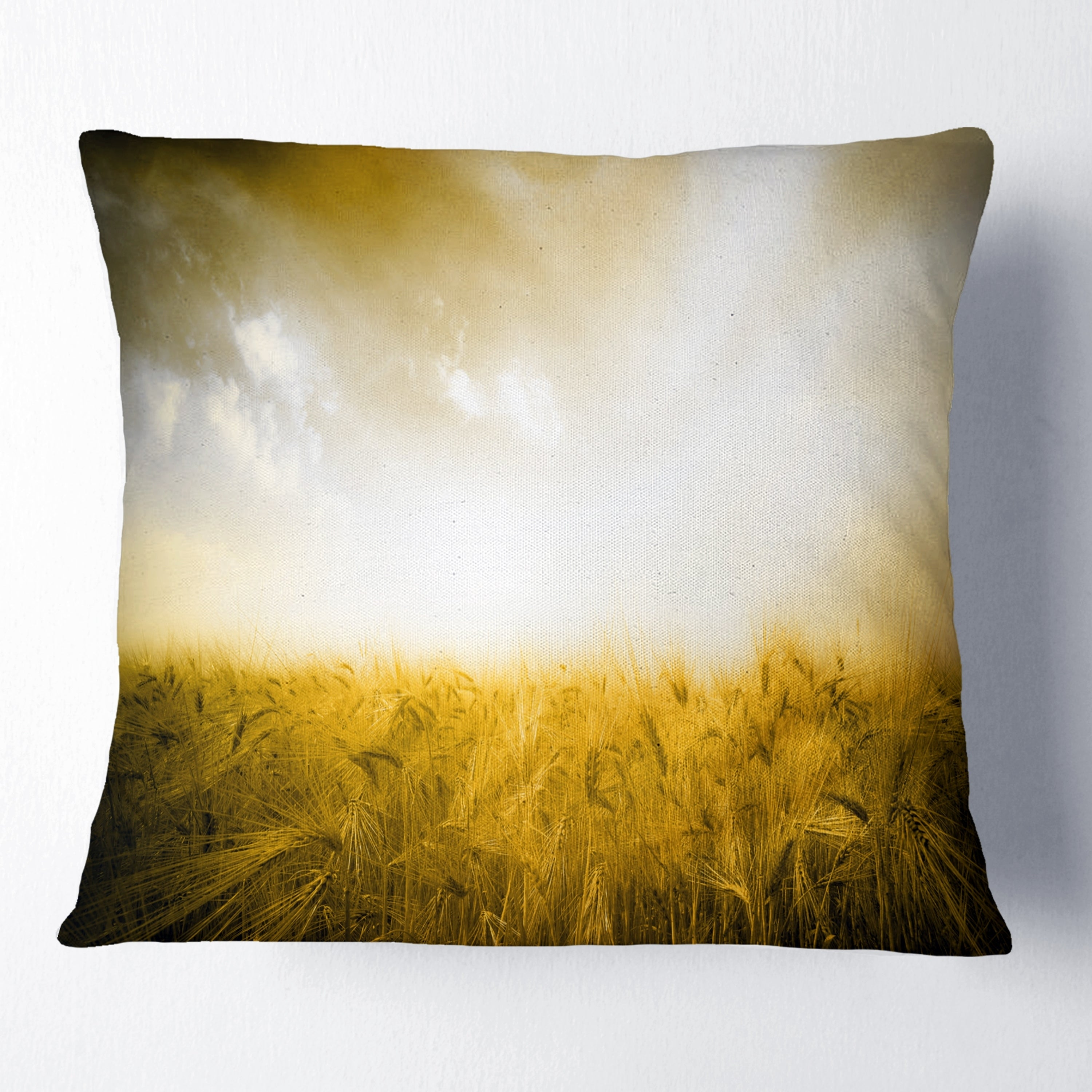 Designart Yellow Meadow Under Bright Sun Landscape Printed Throw Pillow On Sale Overstock 20952870